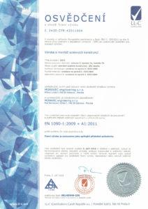 thumbnail of Osvědčení o shodě řízení výroby EN 1090-1_2009 + A1_2011